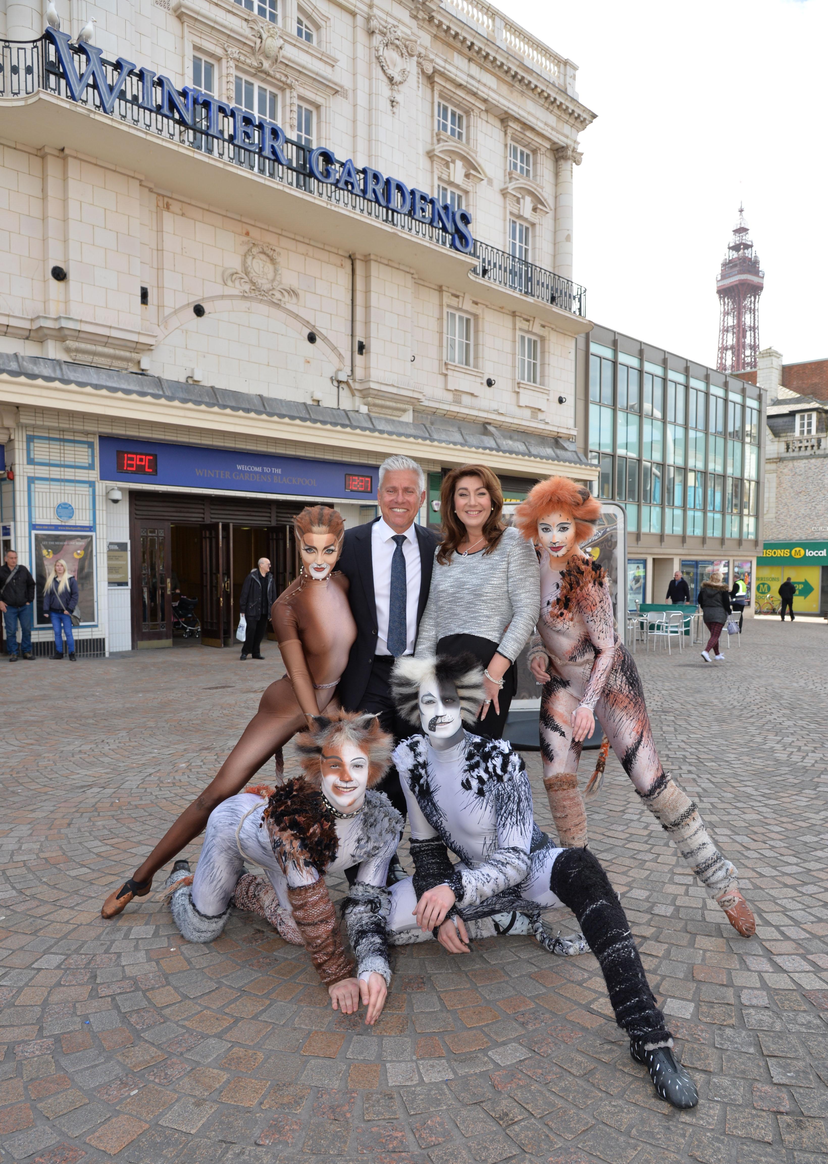 CATS - Jane McDonald and David Ian with Cats outside Blackpool Opera House