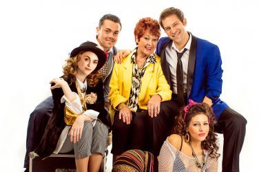 The Wedding Singer UK Tour - L-R - Cassie Compton, Ray Quinn, Ruth Madoc, Jon Robyns, Roxanne Pal