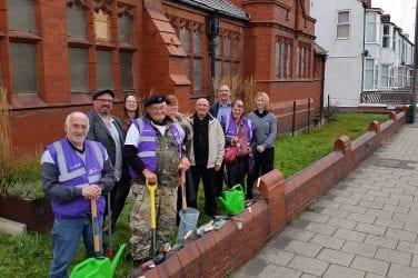 Volunteers at the church garden with ward councillors Graham Cain and Jim Hobson