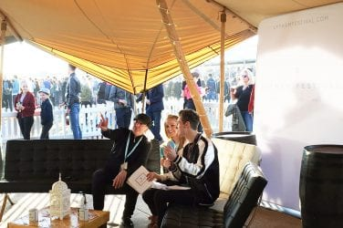 CLINT BOON (L) CHATS TO CAROLINE WHITMORE AND ROSS MORGAN ON LFTV