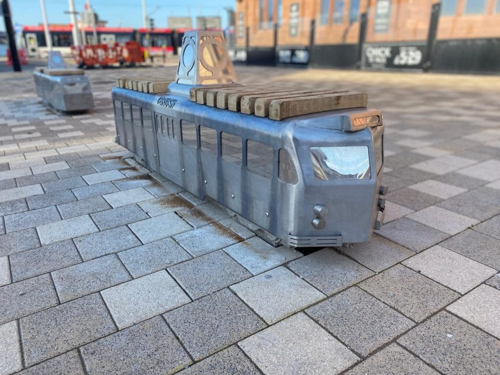 The new tram benches in Talbot Square